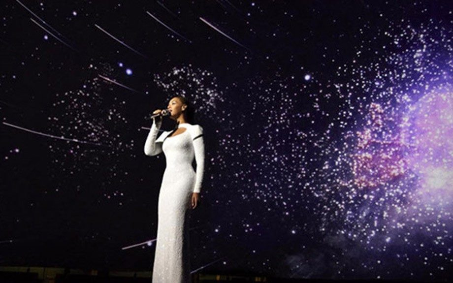 Beyonce was absolutely stunning in a Marc Bouwer, white sequined floor length gown. Photo Credit: Beyonce's Tumblr