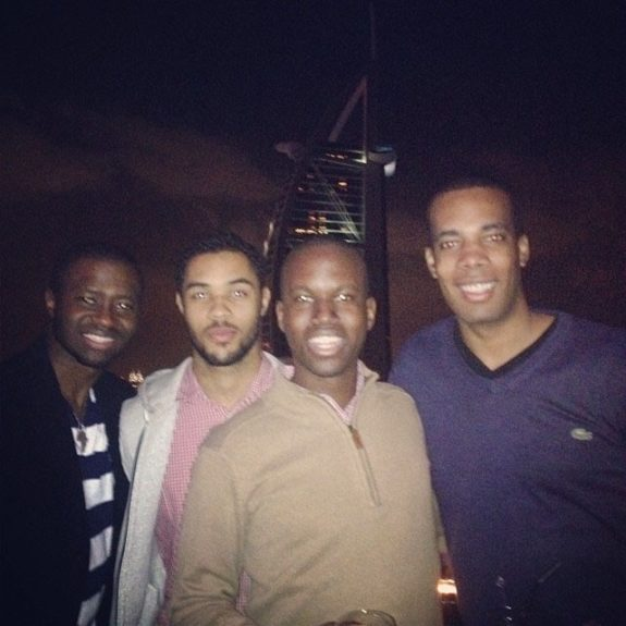Hanging out with friends at 360 Degrees, with Burj Al Arab in the background