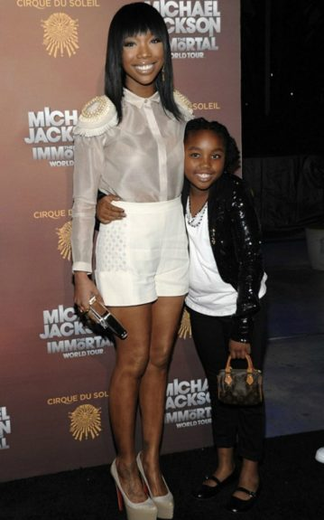 Brandy and daughter Sy'rai celebrate the King of Pop at the Cirque du Soleil Michael Jackson The Immortal World Tour