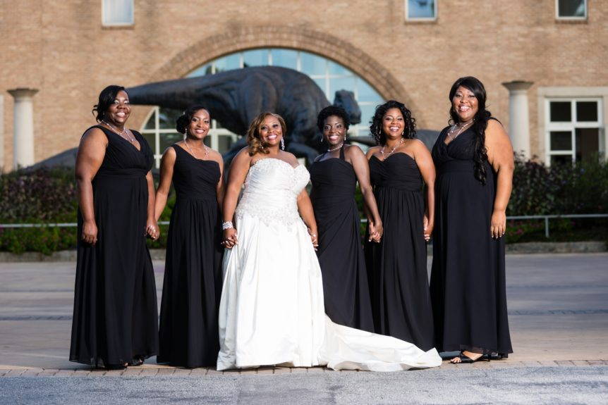 We love the combo of black and white for the bridesmaids