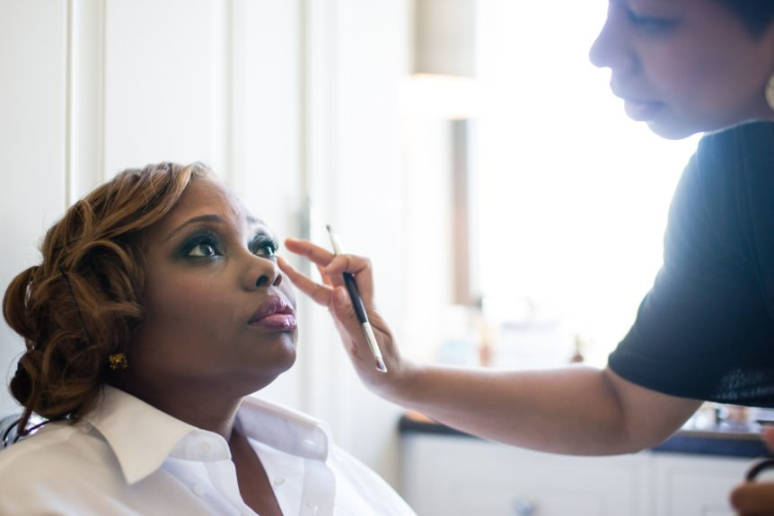 The bride gets primped for her big day