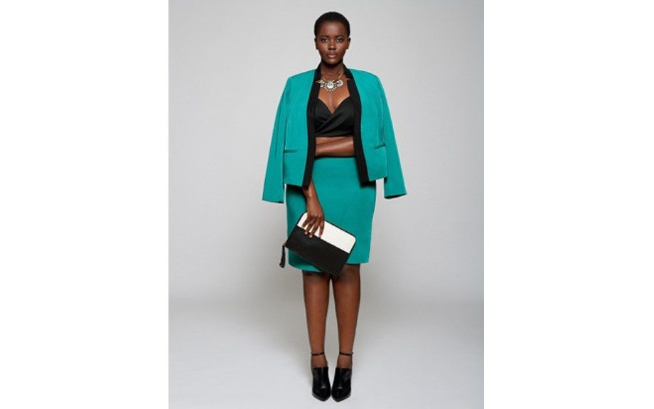 "<strong>LOOK THREE: </strong>Eloquii Wrap Skirt <a href=""http://www.eloquii.com/wrap-skirt/1200496.html?ppid=c17&start=17&dwvar_1200496_colorCode=22&cgid=skirts"" target=""_blank"">$54</a> and Eloquii Contrast Collar Jacket"
