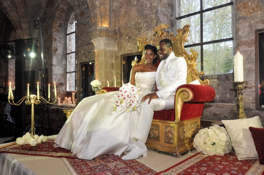 Love Notes: The newlyweds share a moment together after their ceremony