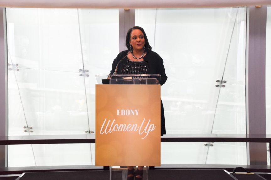 <p> Cheryl Mayberry McKissack kicks off the brunch with a warm welcome.</p>