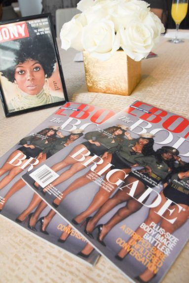 <p> 	EBONY proudly displays our March print issue for guests to peruse. #womenup!</p>
