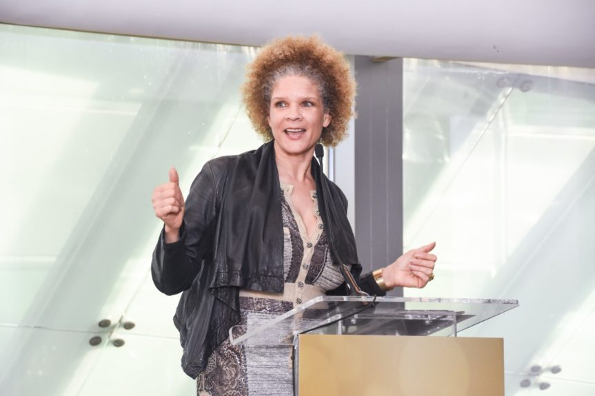<p> 	Keynote speaker Michaela Angela Davis, Image Activist, MAD Free shares her experiences with a receptive crowd.</p>