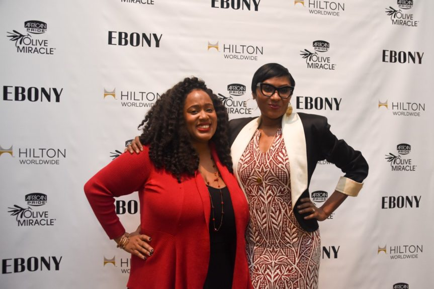 <p> 	EBONY March Cover Story writer Tomika Anderson and Kierna Mayo, EBONY</p>
