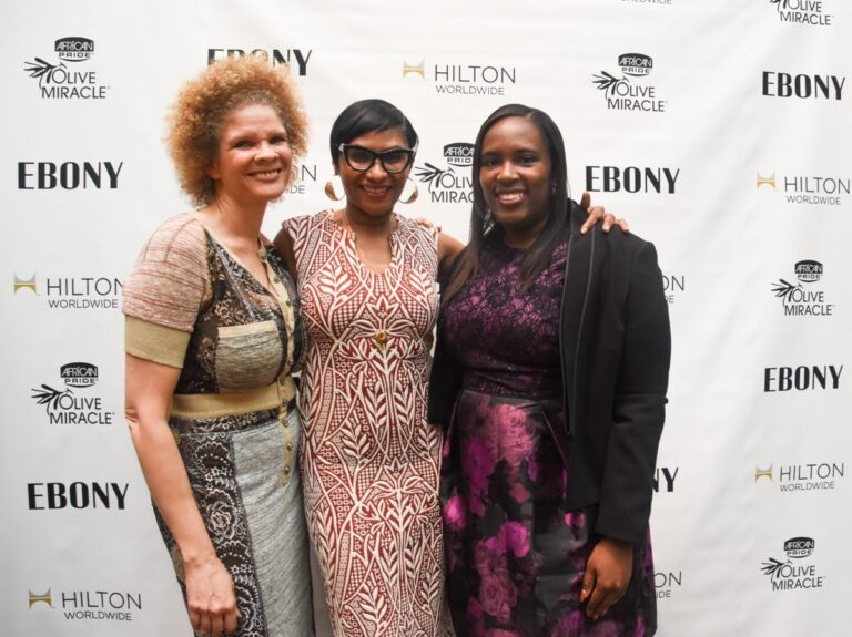 <p> 	Michaela Angela Davis, MAD Free, Kierna Mayo, EBONY, Andrea Richardson, Hilton Worldwide</p>