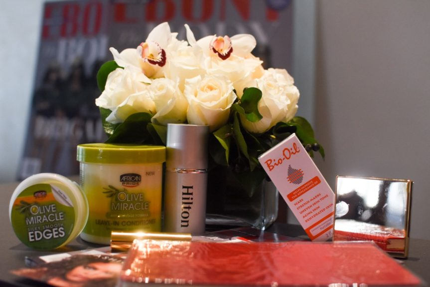 <p> Guests received swag bags chock- full of goodies from our partners - African Pride Olive Miracle, Hilton, Bio Oil and Fashion Fair</p>