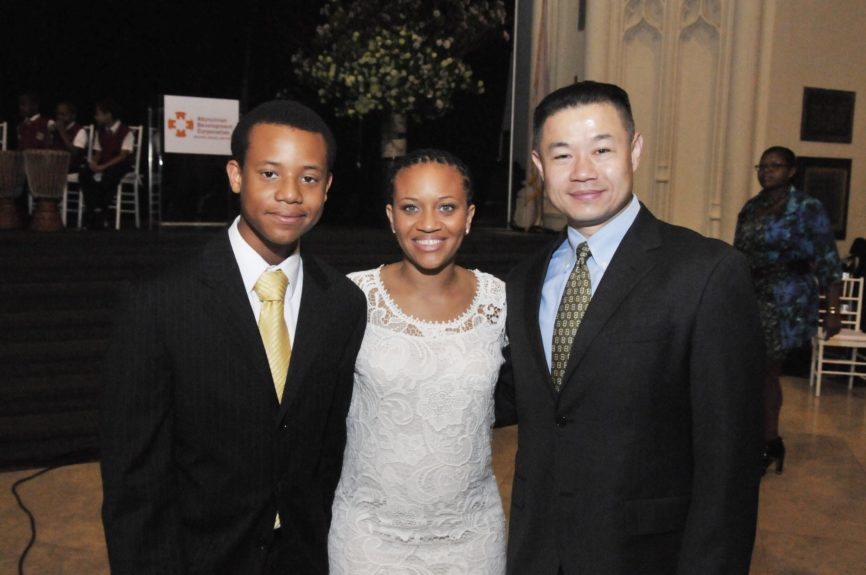 Sheena Wright joins two guests at the Abyssinian Development Corp., Annual Harlem Renaissance Day of CommitmentBreakfast