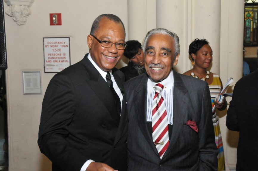 Two Harlem leaders join; Rev. Dr. Calvin O. Butts, III and Congressman Charlie Rangel at the Abyssinian Development Corp., Annual Harlem Renaissance Day of CommitmentBreakfast