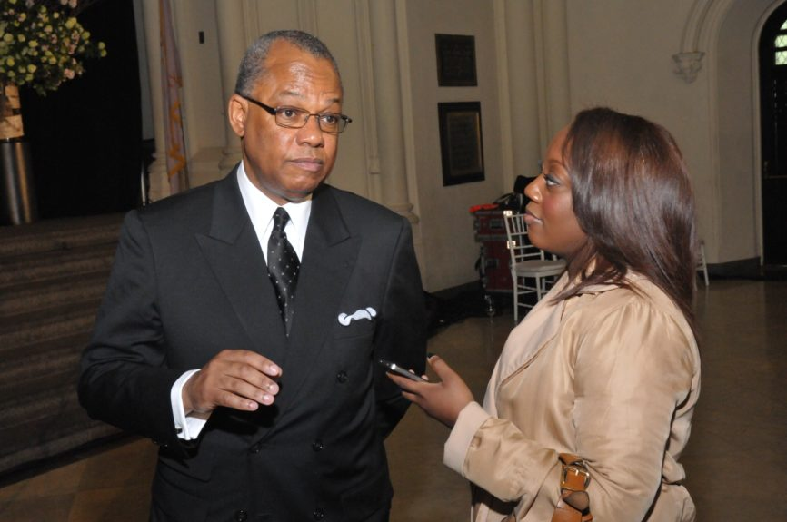 EBONY's Geneva S. Thomas interviewing Rev. Dr. Calvin O. Butts, III at the Abyssinian Development Corp., Annual Harlem Renaissance Day of CommitmentBreakfast