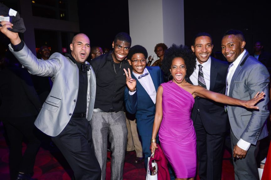 Singer Rhonda Ross with Motown: The Musical director Charles Randolph-Wright (second from right) and cast members.