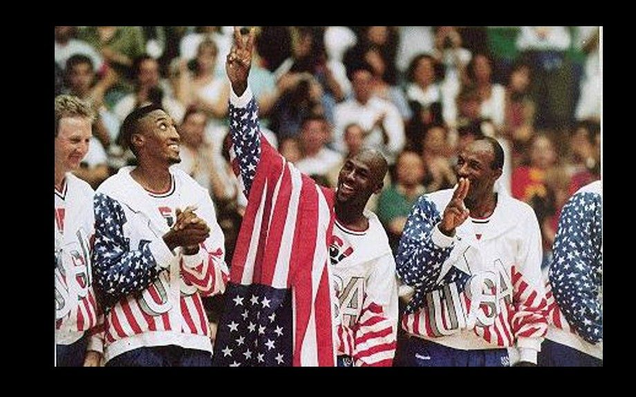 """Michael Jordan In 1992, Jordan led the """"dream team"""" in the Olympic Games in Spain. The team included: Larry Bird, David Robinson, and Magic Johnson – and they won the gold with Jordan averaging 14.9 points"""