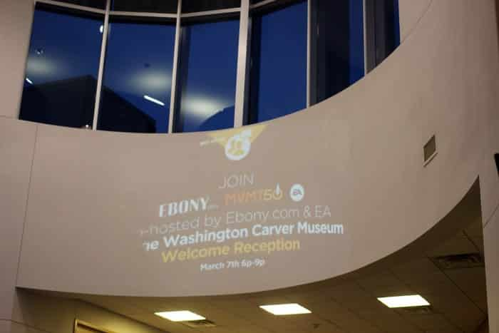 The George Washington Carver Museum and Culutral Center was lit up just for us.