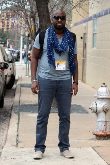 Andre brought the Seattle cool and braved the Austin winds with a fresh scarf.