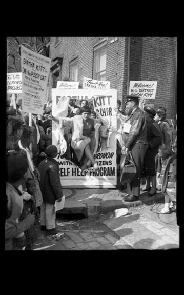 """Eartha pops out of a protest poster feline style. Charles """"Teenie"""" Harris, Carnegie Museum of Art"""