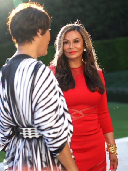 Johnson Publishing Company CEO Desiree Rogers chats with Tina Knowles.