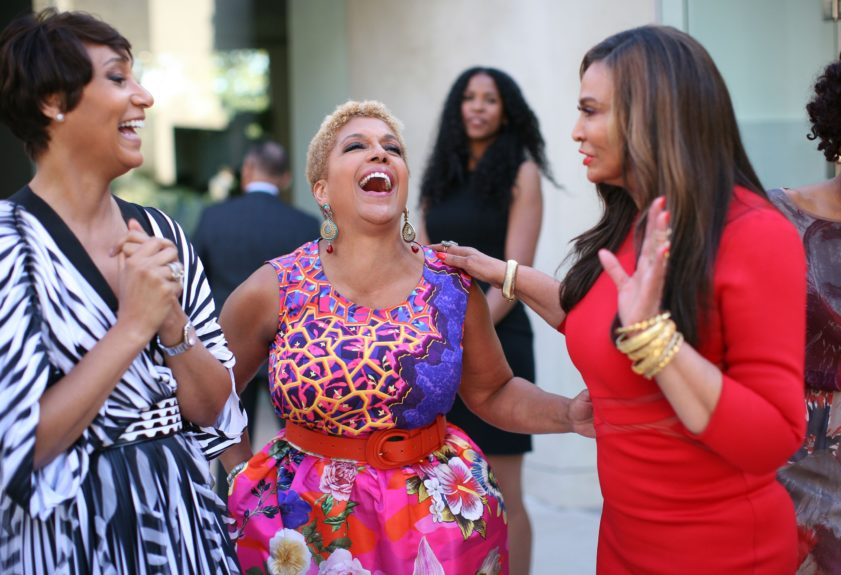 Johnson Publishing CEO Desiree Rogers, Chairwoman Linda Johnson Rice and Tina Knowles share a laugh.
