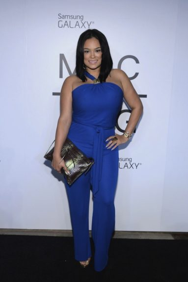 Emily B may be off the little screen, but she's never left the spotlight and she looks great in her blue jersey Emilio Pucci jumpsuit. <em>photo: Getty</em>