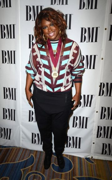Singer and songwriter Ester Dean opted for a carefree and casual look of stripes and black jodhpurs at the BMI Pop Awards in California where she was recognized with the 'Songwriter of the Year' award