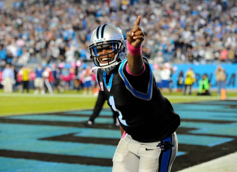 <p> 	Carolina Panthers quarterback Cam Newton (1) celebrates his touchdown against the Philadelphia Eagles  © David T. Foster III/Charlotte Observer/TNS</p>