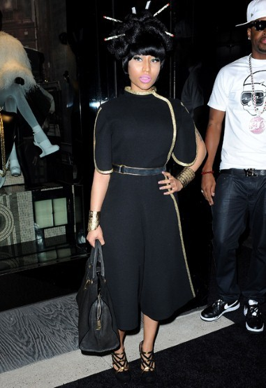 Nicki in her 'Harajuku Barbie' hair, during Fashions Night Out