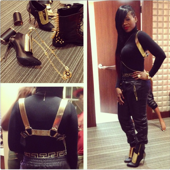 Fantasia hit up <em>106 & Park</em> in a Wolford black and gold body suit, accessorized with a holster by Patricia Fields, Giuseppe pumps, and Versace and Givenchy necklaces. Phew! <em>Photo</em>: Fantasia's Instagram