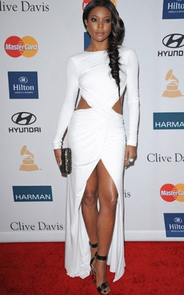 For the 54th Clive Davis Pre-Grammy Party, Gabrielle coordinates her outfit in a cutout Emilio Pucci dress and a pair of cutout Lanvin wedges