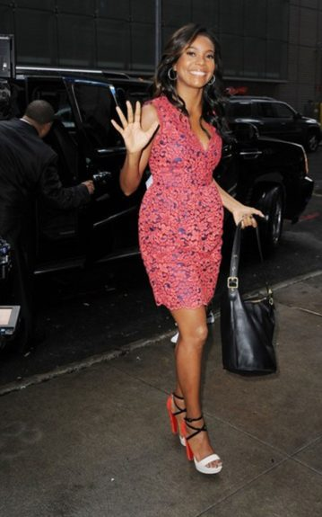 """Actress Gabrielle Union also made an early-morning appearance at """"Good Morning America"""" in Christian Louboutin Summerissima sandals to talk skin cancer prevention"""