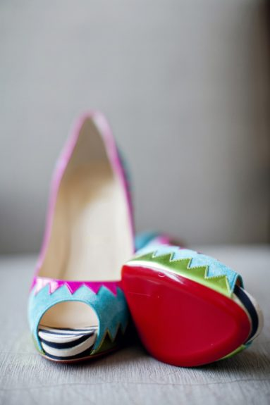 The quriky and unique shoes worn by the bride
