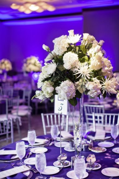 The reception was full of various flowers and rich colors