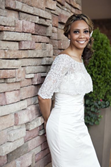 Bride, Erica, looks stunning in a Priscilla of Boston gown