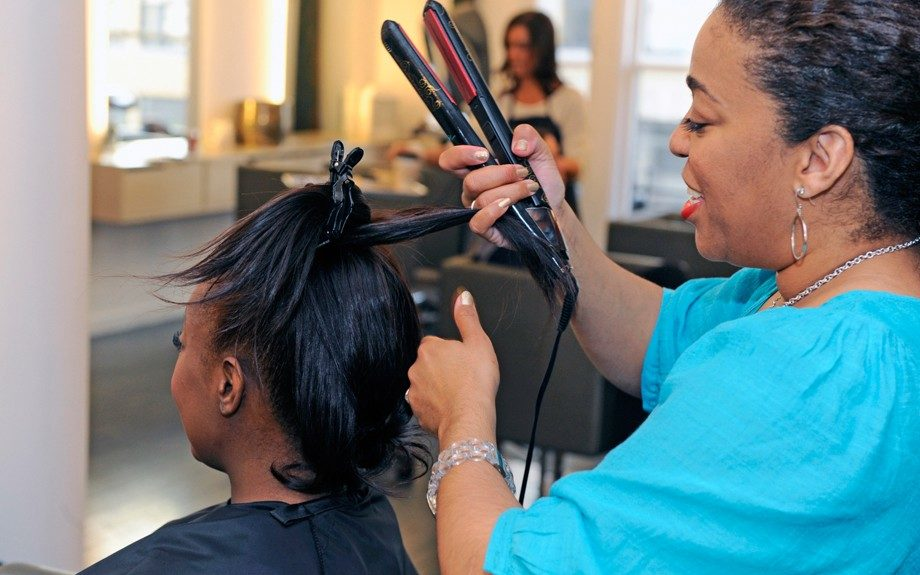 Tippi flat irons Geneva's hair with an added slight curl at the ends for easier wrap