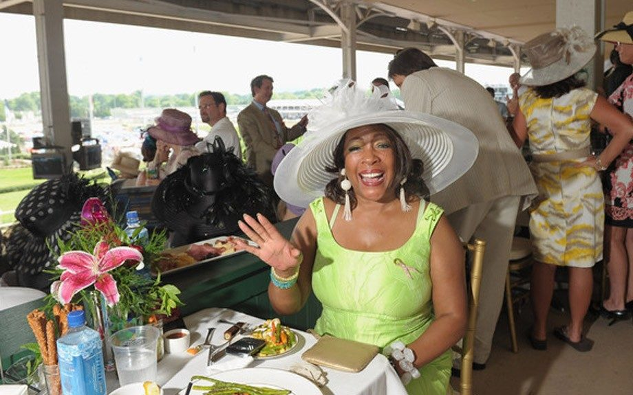 Mary Wilson of the Supremes' super wide-brimmed hat guaranteed a shade from the Kentucky sun rays wherever she went