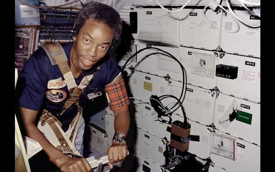 Guion Bluford aboard the Challenger in 1983.