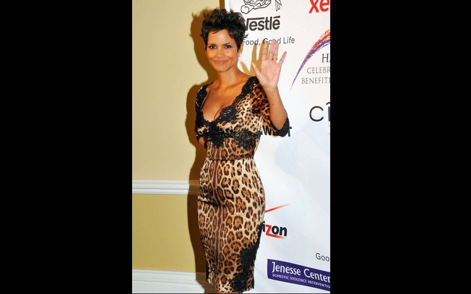 Halle Berry's Dolce & Gabbana fitted leopard print dress embellished with black lace hugged her curves at the Jenesse Silver Rose Awards Gala
