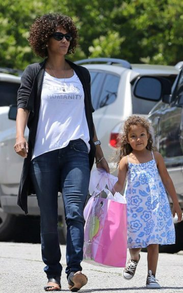 Halle Berry and daughter Nahla come bearing gifts during a birthday party for Nahla's friend