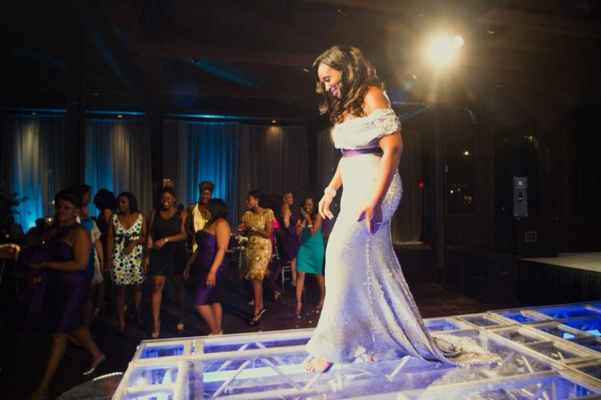The fashionable bride struts down runway