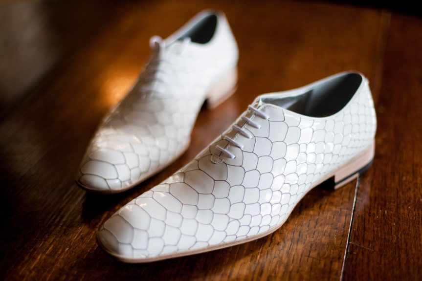 The Basics: The groom's sharp footwear for his big day