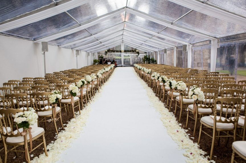 All White Everything: The guests were seated in a scenic and breathtaking room as they awaited the bride and groom
