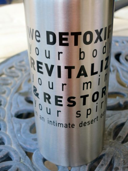 We Care Spa's motto: Detox, Revitalize, Restore. All guests receive a personalized metal thermos and are required to stay hydrated as they detox.