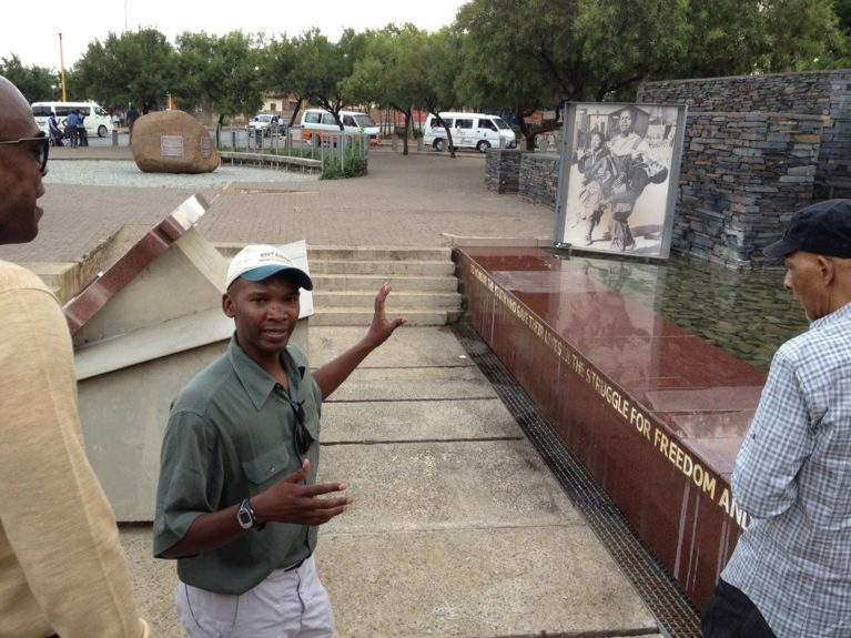 Tour guide, Greg, at Hector Pieterson Memorial