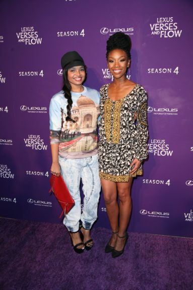 Kyla Pratt and Brandy are all smiles backstage at 'Verses and Flow'
