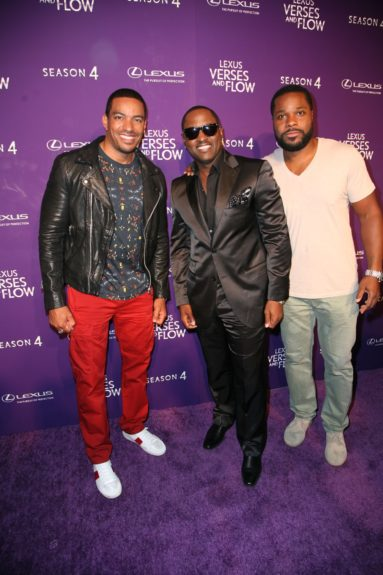 Host Laz Alonso, Johnny Gill and Malcolm-Jamal Warner at 'Verses and Flow'