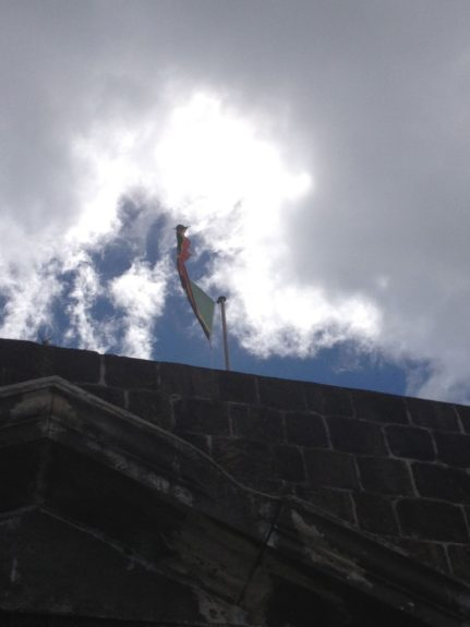 St. Kitts flag atop Brimstone Hill Fortress