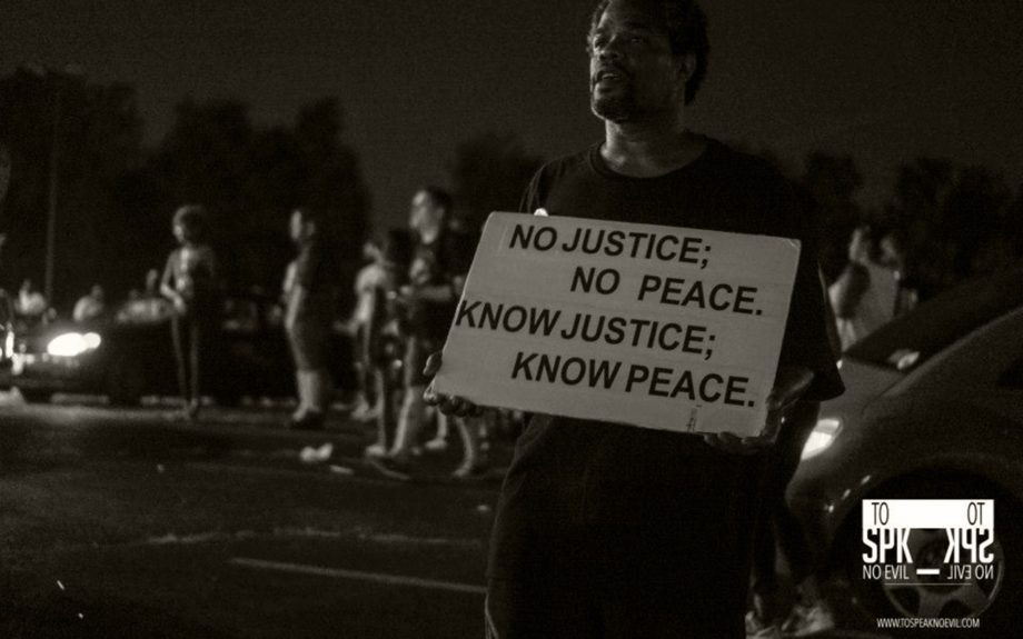 <p> 	FERGUSON: One Year Anniversary of Michael Brown's death, Ferguson, Missouri, August 8, 2015 (To Speak No Evil/Alvin C. Jacobs, Jr.)</p>