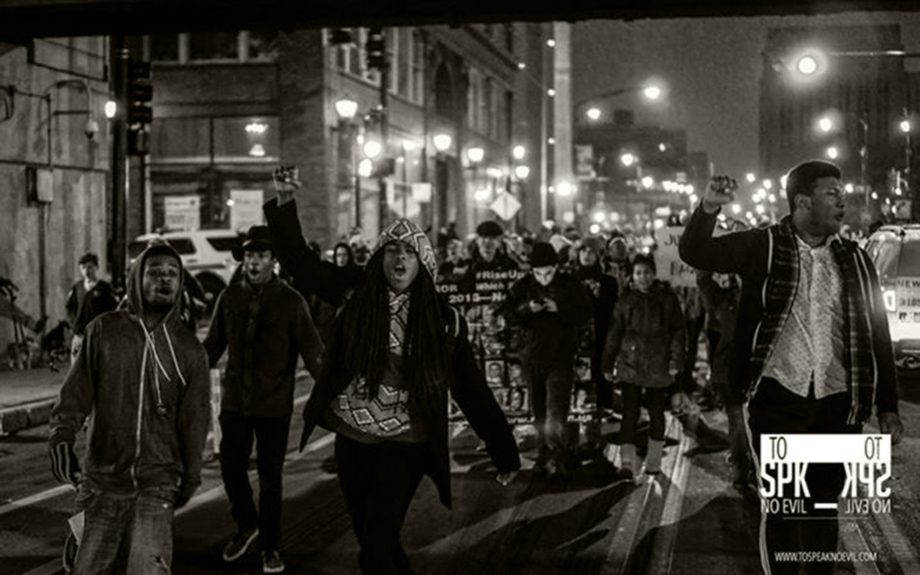 <p> 	CHICAGO: Protesters march through the Chicago Loop on Nov. 25, 2015 following the release of a dashcam video showing the shooting death of 17 year-old LaQuan McDonald by Chicago police officer Jason Van Dyke. (To Speak No Evil/Alvin C. Jacobs, Jr.)</p>