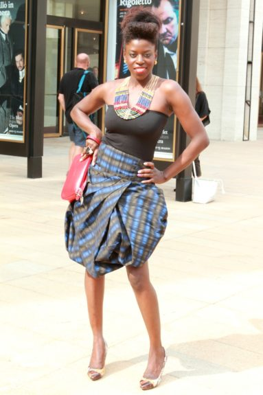 Aissata Ba's gorgeous skirt is from Barami, and her stunning necklace was found at a gift shop.