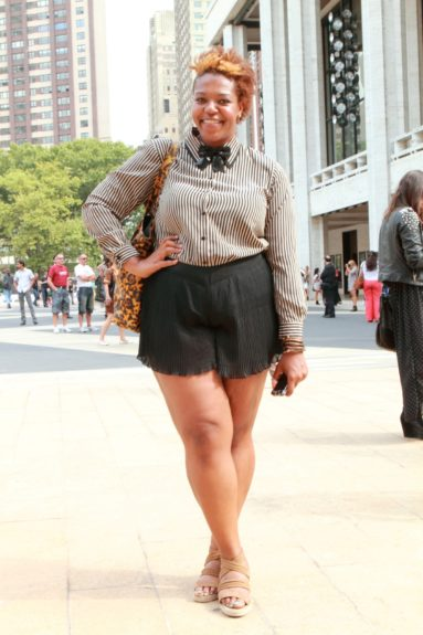 Danielle Young of Hello Beautiful put together a look that partnered a thrifted top with Forever 21 pleated shorts and shoes from Avenue.